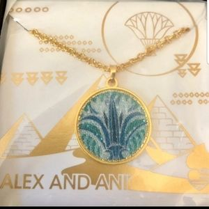 Alex and Ani Blue lotus necklace 14k Gp
